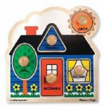 CHILDRENS CHILD MELISSA AND DOUG LARGE PEG FIRST SHAPES PUZZLE JIGSAW